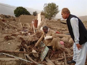 最も大きな被害を受けたジアラト地区の村にて